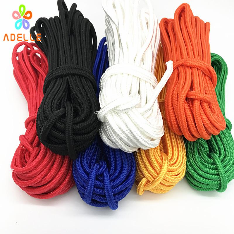 6colors 5/6mmx15m braided nylon rope Polypropylene rope PP hang tag  climbing boat yacht sailing line clothes line free shipping