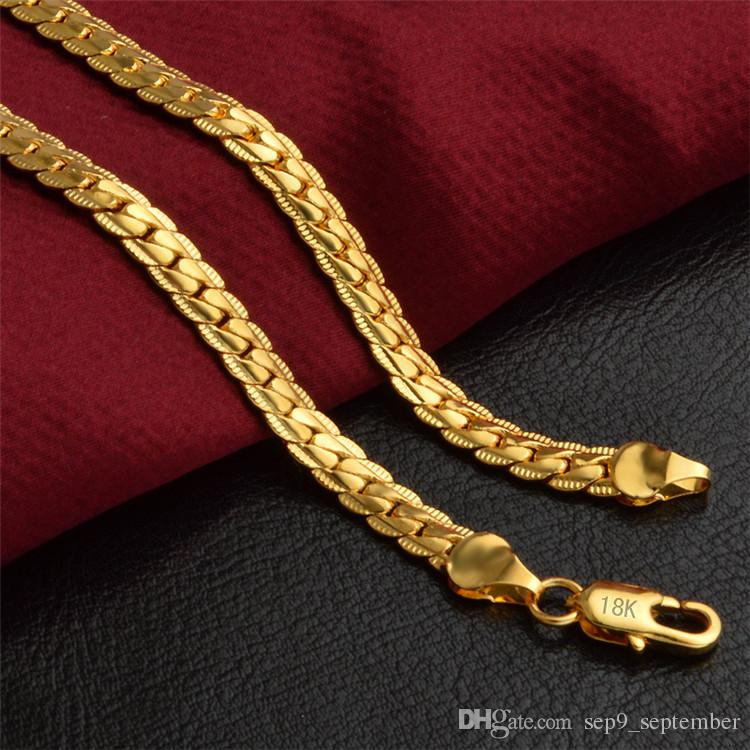 Hip Hop Jewelry Gold Chains For Men 5MM 18k Gold Plated Cuban Link Chain Mens Necklace