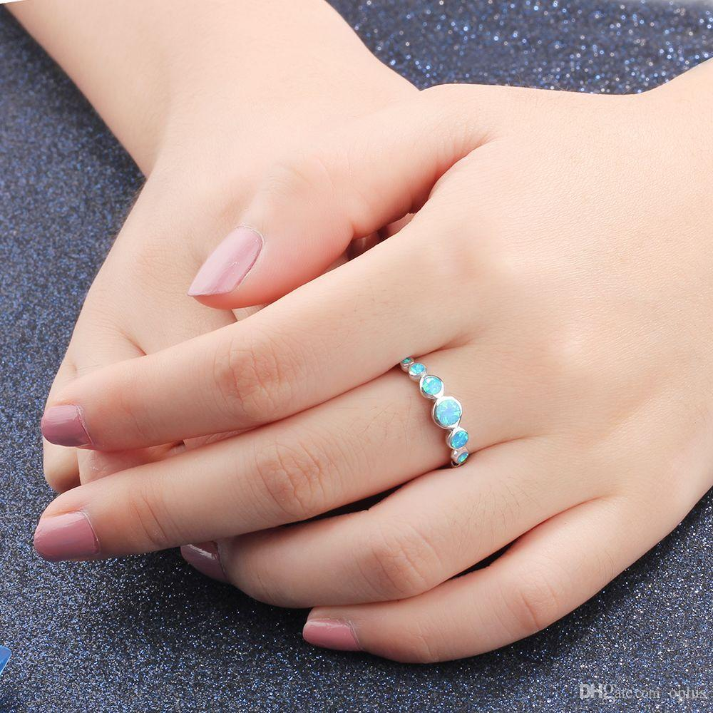 Women Real 925 Sterling Silver Multiple Round Blue Opal Rings Women Wedding Jewelry Christmas Gift For Wife Mom