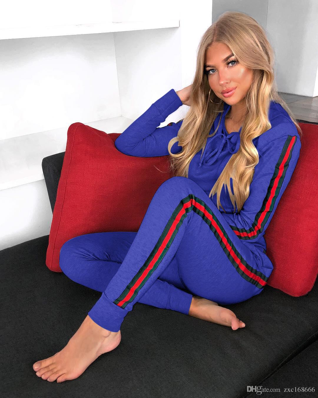 2018 Спортивный костюм Женщины спортивный костюм толстовка с капюшоном + брюки бег Femme полосы Survetement спортивная одежда из двух частей наборы