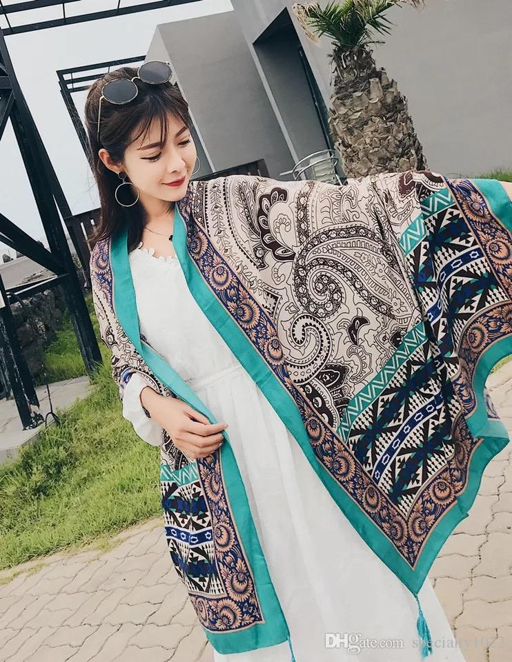 Spring and summer color cashew cotton muffler scarf women vintage national wind shawl silk scarf seaside holiday travel shawl