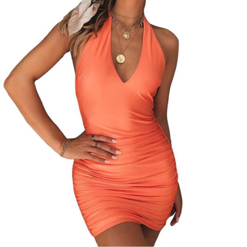 9ac11240018 Großhandel Sexy V Ausschnitt Halter Frauen Sommerkleid Drapiert Schlank  Bodycon Weibliche Strand Tunika Sexy Backless Party Kleid Von Wanglon05