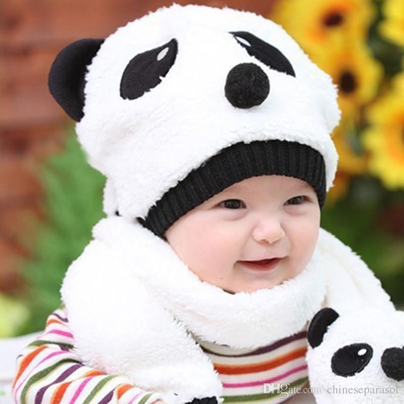 828f4a67aaa 2019 Winter Toddler Girl Boy Cute Panda Hat Scarf Set Fleece Beanie Warm Cap  Unisex Two Piece Set From Chineseparasol