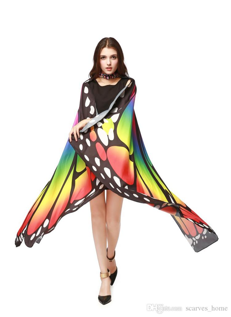 New Fashion Women New Colorful Butterfly Wing Cape Chiffon Long Scarf Party Stylish Scarves 7 Colros