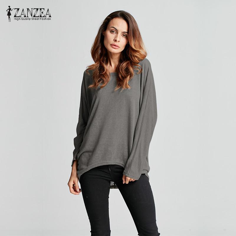 Oversize Sleeve Loose Zanzea Long Solid Casual Tops Women 2019 n0PqRwFa