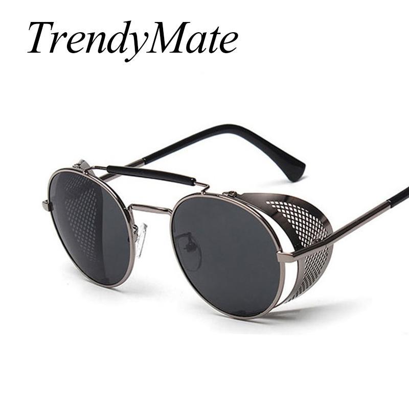 42c9999049654 Compre TrendyMate Retro Steampunk Óculos De Sol Redonda Designer Steam Punk  Escudos De Metal Óculos De Sol Das Mulheres Dos Homens UV400 Gafas De Sol  086 M ...