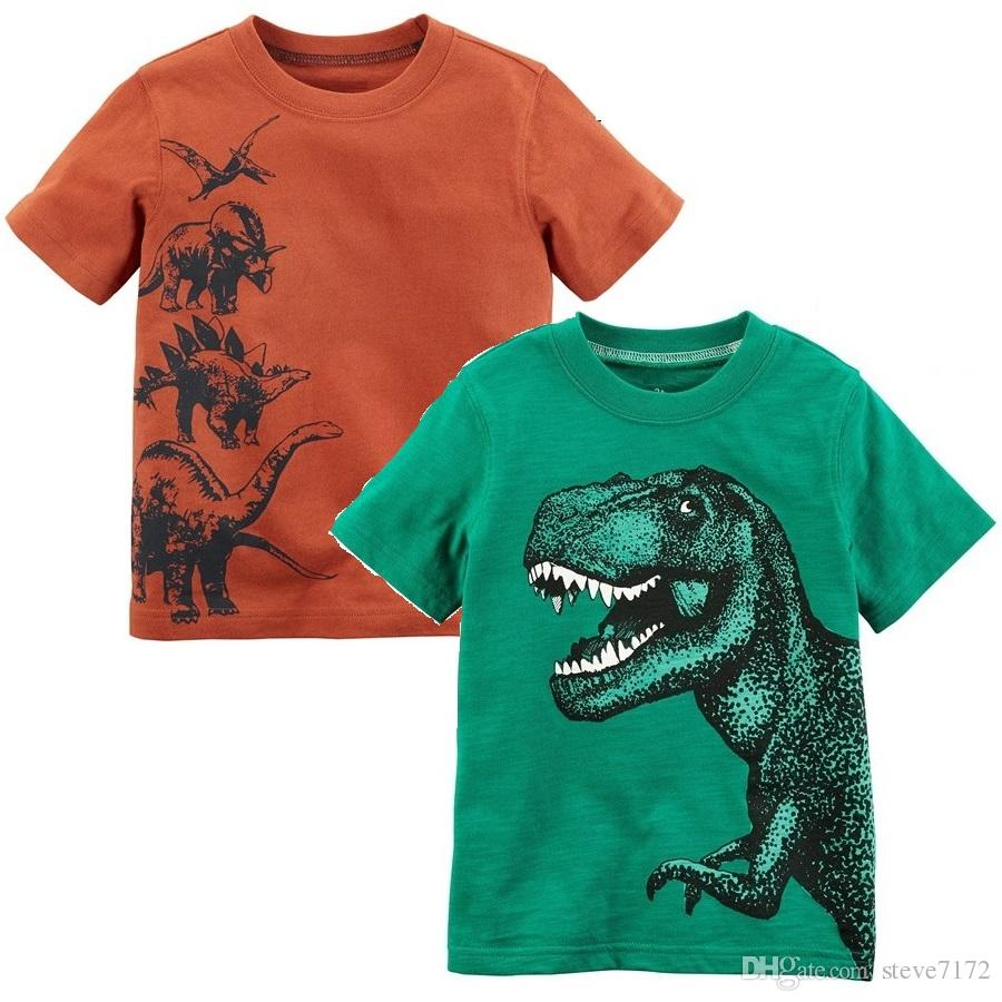 848d4b18 Green Dino Baby Boys Tees Shirts Children Clothes Tops 0-2 Years Cotton  Short Sleeve Boy T-Shirt Toddler T-Shirt Kids Outfit