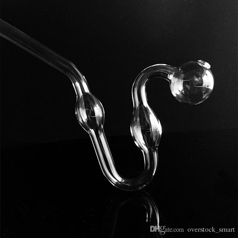 Transparent Pot Pipes Snake Shape with Pot Thick Glass Oil Burner Pipe Hookah Accessories Glass Bong