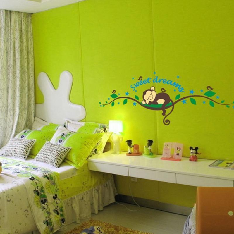 Мультфильм сна обезьяна сладкие сны дерево филиал стикер стены термоаппликации обои мальчик детская комната домашнего декора новый