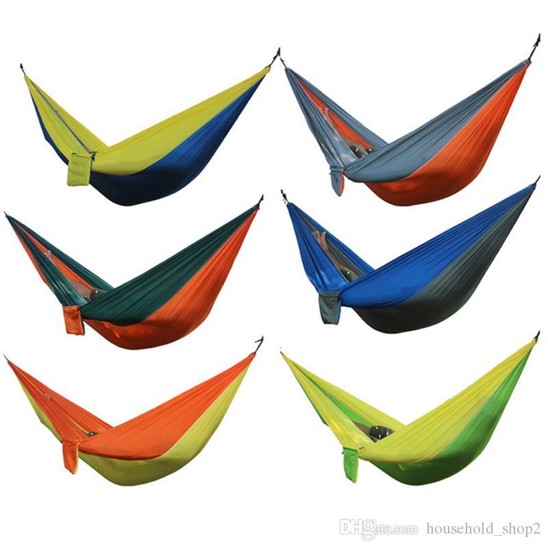 2020 im Freien beweglichen Hängematten Doppel Person Nylon kampierende Überleben Gärten Hängematten Freizeit Reisemöbel Parachute Hängematten
