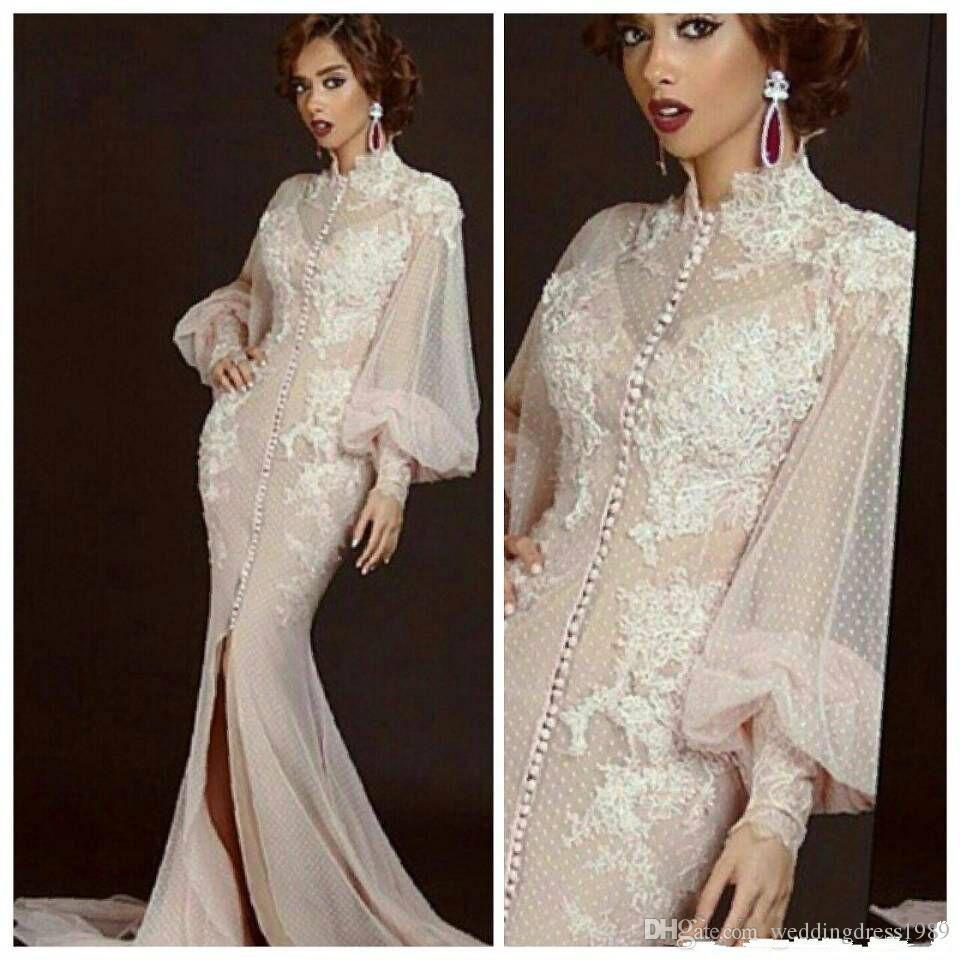 Sexy Blush Pink Split Evening Dresses Long Sleeve Lace Mermaid Saudi Vestidos De Festa Party Dress Prom Formal Pageant Celebrity Gowns