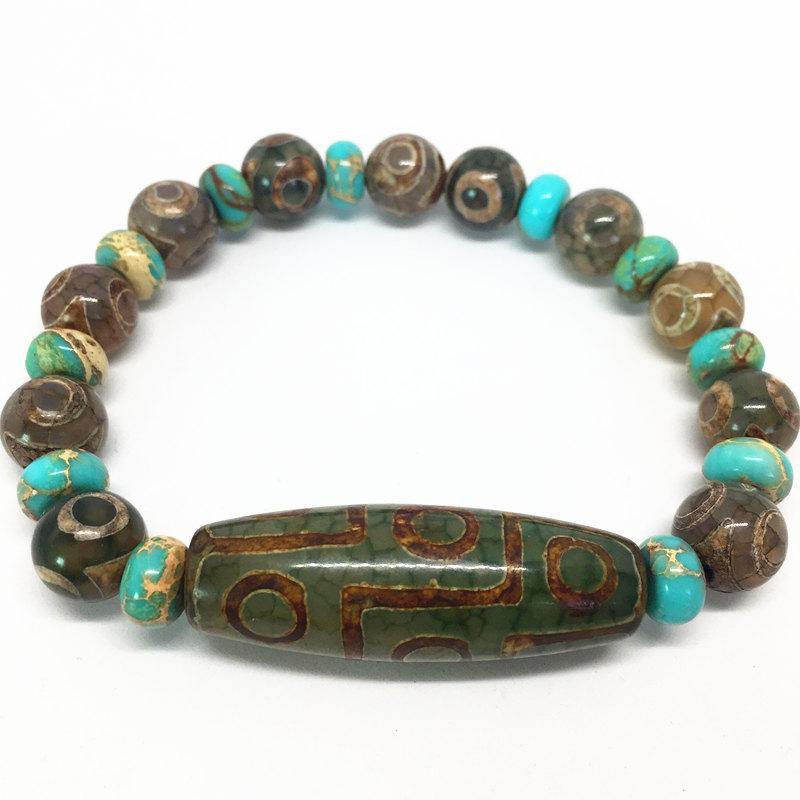 f2671bb7fd57 Compre Verde Natural Ágata 9 Ojos Patrón Tibetano Dzi Beads Pulsera  Elástica Para Las Mujeres Envío Gratis A  25.4 Del Shukui