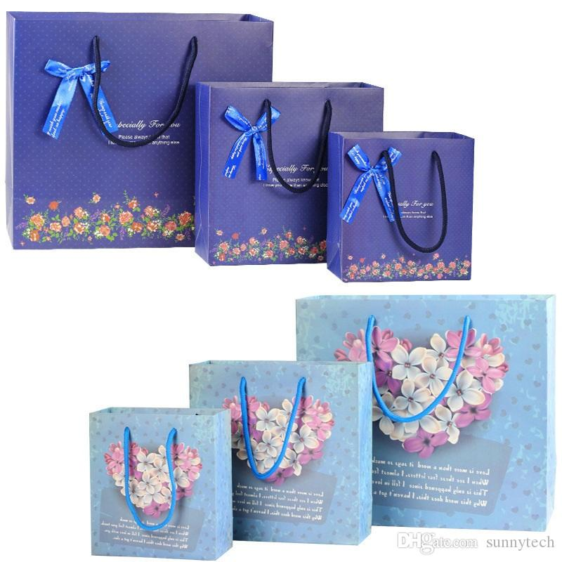 3 Size blue Bouquet gift bag Paper bag/ medium size/beige wedding gift bag with handle Festival gift bags LZ1181
