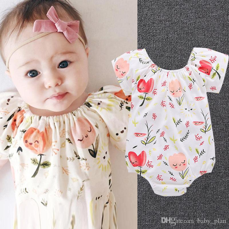 2f226cc4c1f3 Brand Kid Floral Striped Bodysuit Clothes Baby Girl Romper Lace Leopard Flower  Headband Ruffles Sleeve Buttons 2018 Summer Girls Clothing Brand Kid Floral  ...