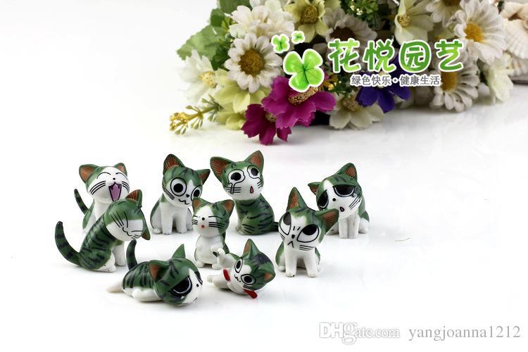 Cartone animato Resina Kitty Dolls Craft Miniature Moss Bonsai Pots Decorazione Cheese Cat Tavolozza Succulente Terrario Decor Fair Garden Figurine