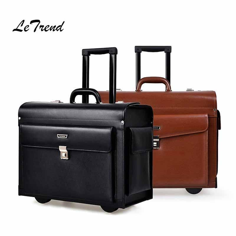 6bdaa425fbc2 Letrend Cowhide Rolling Luggage Business Cabin Travel Bag Genuine Leather  Pilots/Captains Dedicated Flight Suitcases Wheel Bags Online Shopping Travel  ...