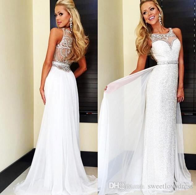 Nueva llegada Sheer cuello vaina Girls Pageant vestido de lentejuelas blancas vestidos de baile baratos por encargo formales espalda perlas de cristal vestidos de noche