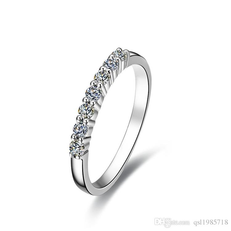 7cd894a646 2019 7 Stones Wedding Band Synthetic Diamonds Band Ring Female 925 Sterling  Silver Band White Gold Color Bridal Jewelry Elegant Ring From Qsl1985718,  ...