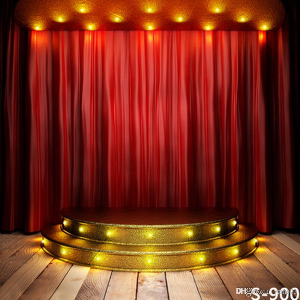 2018 5x7ft Vinyl Gold Stage Red Curtain Wood Floor Photography Studio Backdrop Background From Yame73 1796