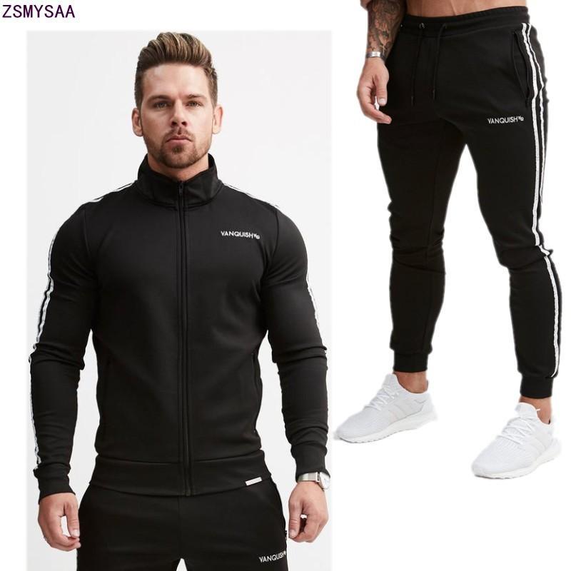 f7844aed0 Compre 2018 Hombres Conjuntos 2 Piezas Sweatsuits Mens Chándal Pullover  Hoodie Y Pantalones Strips Hooded Sweatshirt Ropa Deportiva Hombres Ropa A  $87.81 ...