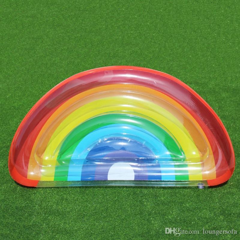 Yarı Daire Gökkuşağı Şişme Şamandıralar Kolay Taşımak Için Havuz Su Oyuncak Yetişkinler Ve Çocuklar Için Resimli PVC Yüzmek Halka 60at B