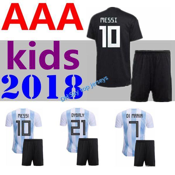 Compre 2018 World Cup Niños Kit Niño Messi Dybala Argentina Niño Hogar  Lejos Jersey De Fútbol Aguero Di Maria Higuain 18 19 Niños Camisetas De  Fútbol A ... 6d3573da88bdb