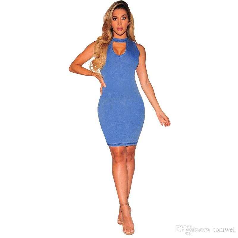 Bodycon Dresses For Women Summer Casual Dresses Denim Tops Fashion Clothing 2018 High Quality Plus Size Solid Color