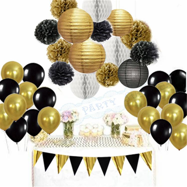 2019 Mixed Black Gold Banner White Paper Lantern Tissue Pom Poms