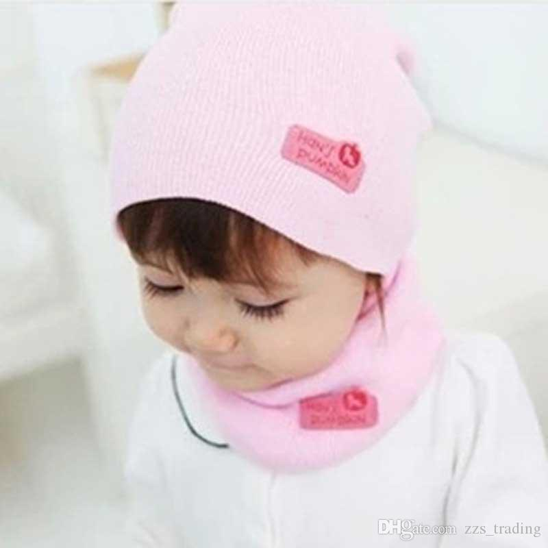 Hot Sale Spring Autumn Winter Baby Boys Girls Warm Beanie Hat Candy Color Toddler Children Hedging Crochet Hats+Scarf