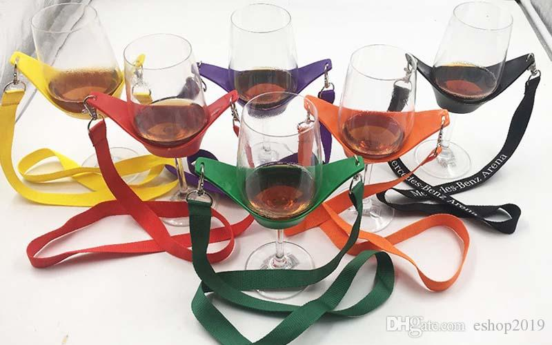 Wine Yoke Gift Portable Lanyard Wines Glass Holder para Bar Supplies Rojo Amarillo Negro envío gratis
