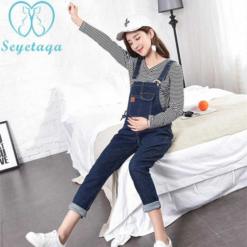 d385e55ca5c1 765  Dark Blue Stretch Denim Maternity Jumpsuits Skinny Bib Pants for Pregnant  Women 2018 Summer Autumn Pregnancy Overalls Jeans Jeans Cheap Jeans 765   Dark ...