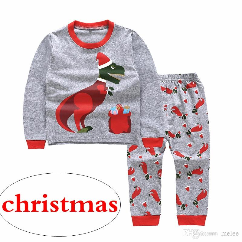 70719cd39 Retail Ins Xmas CHRISTIMAS Baby Boys RED GREEN DINOSAUR Print Pajamas Pjs  Sets Kids Sleepwear Children Cars Truck Pyjamas Pijamas 2 7 Years Kids  Holiday ...