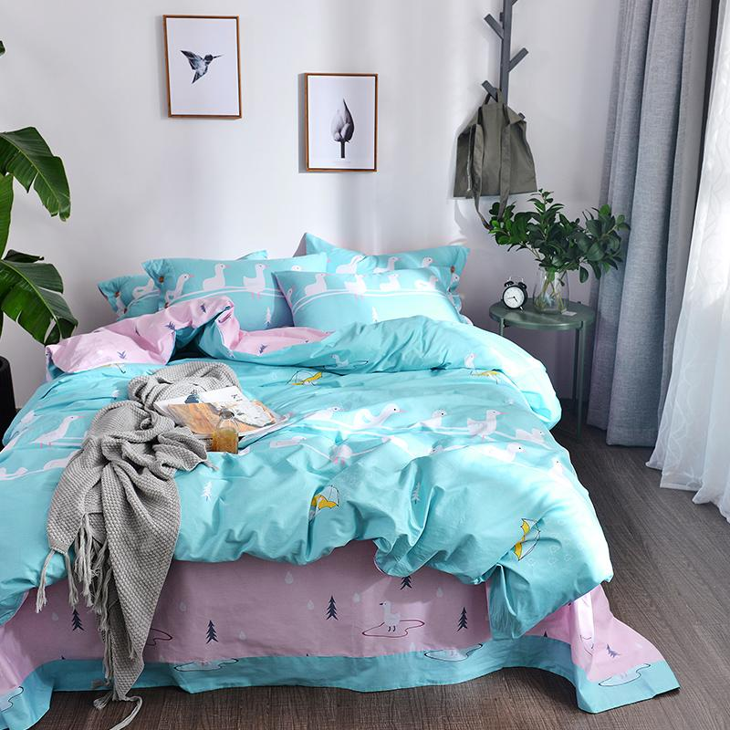 2018 Ducks Light Blue Bedding Set Soft Cotton Fabric 3 Twin Queen