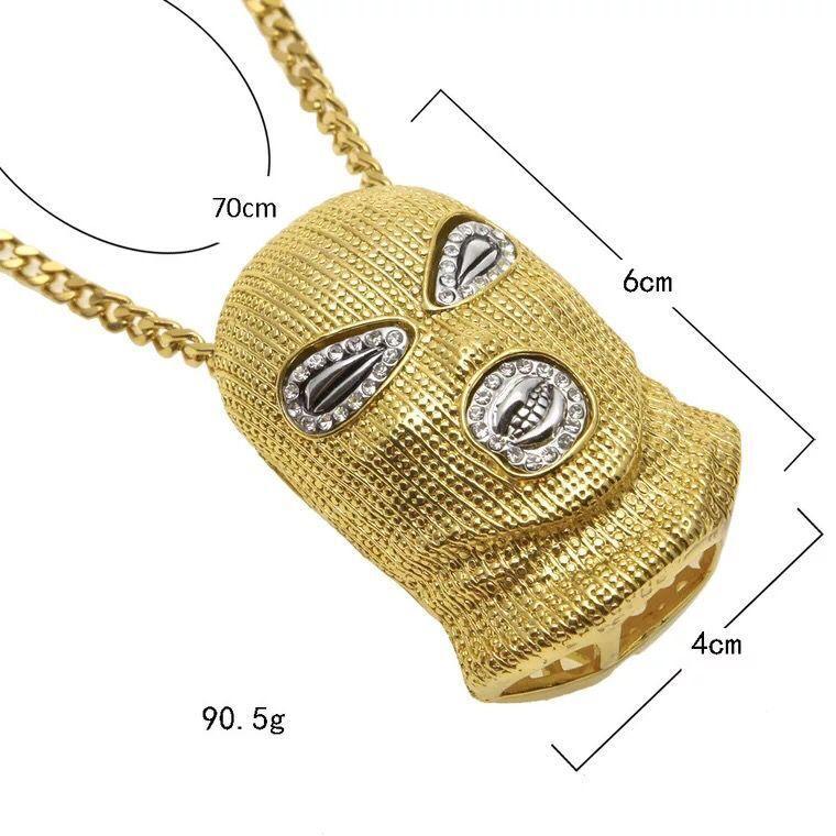 Hip Hop CSGO colgante, collar para hombre estilo punky 18K aleación, oro, plata, plateado, máscara, cabeza, colgante, encanto, alta calidad, cubano, cadena