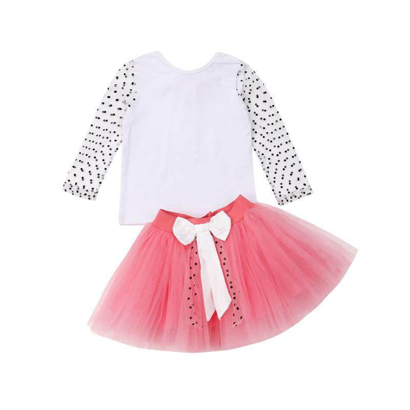 709cf1eedb 2019 Summer Children'S Set 2019 New Kids Baby Girls Mesh Dot Long Sleeve Tops  T Shirt+Bowknot Lace Tulle Short Mini Skirts Outfits From Cornemiu, ...