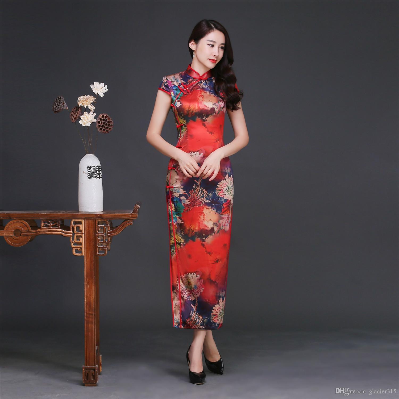 Shanghai Story Faux Silk Long Qipao Big Flower Print Chinese ...