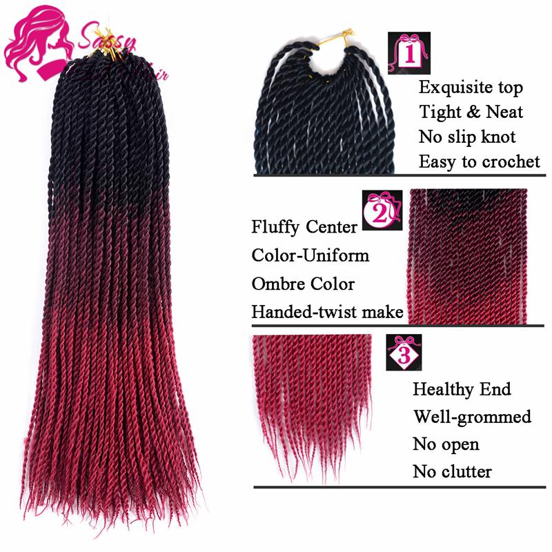 "24"" Senegalese Twist Crochet Hair Ombre 5Packs Senegal Twist Crochet Braids Small Pre Twisted Loop Braids Synthetic Hair Black/Wine Red"