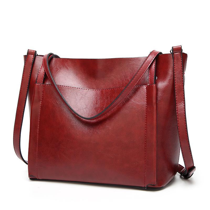 Fashion Women Handbag PU Oil Wax Leather Women Bag Large Capacity Tote Bag  Big Ladies Shoulder Bags For 2018 Bolsas Femini Duffle Bags Clutch Bags  From ... cc9c79bcf0b98