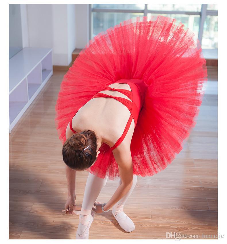 Falda de tutú de ballet profesional 8 capas de color rojo negro blanco para entrenar falda de Bellerina para la clase de baile de ballet