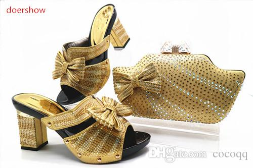 2018 Rhinestone Wedding Shoes Italian Shoes and Bag To Match Shoes with Bag Set Italian Women !TN1-32