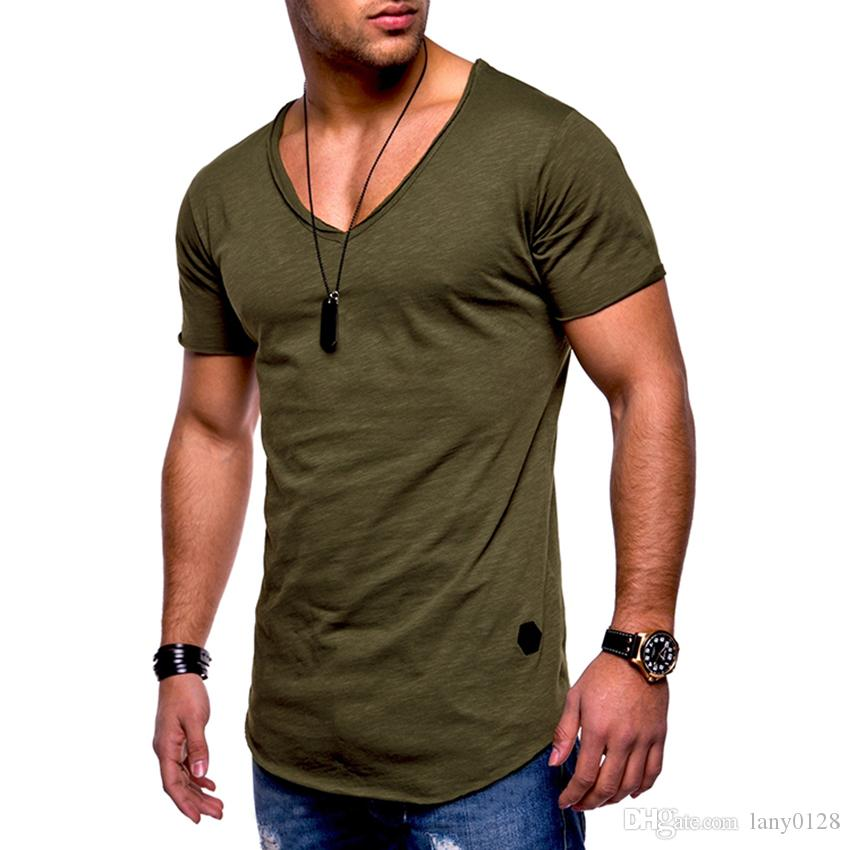 e328bc68a5d Brand Men T Shirt Plain Hip Hop Fashion Casual Deep V Neck T Shirt Swag  Cuve Hem For Men Short Sleeve Streetwear Top Tees 2018 Short Sleeve Shirt  Novelty T ...