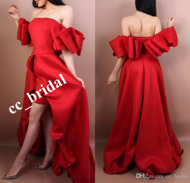 Arabic Plus Size High Low Red Prom Dress Satin Ruched Off-Shoulder 2018 Short Front Long Back Women Evening Gowns Party Dresses For Prom