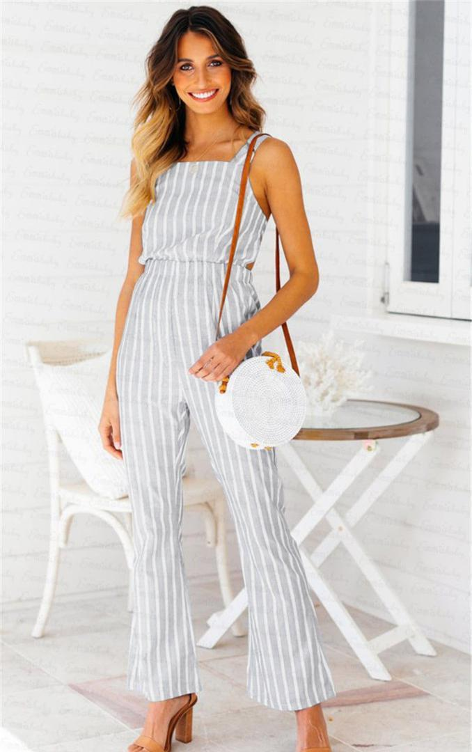 best website 1affa 79b9b Damen Frauen Sommer Jumpsuit Sleeveless Clubwear Breites Bein Overall  Sommer Outfits Set Frauen Mode Backless Polyester Overalls