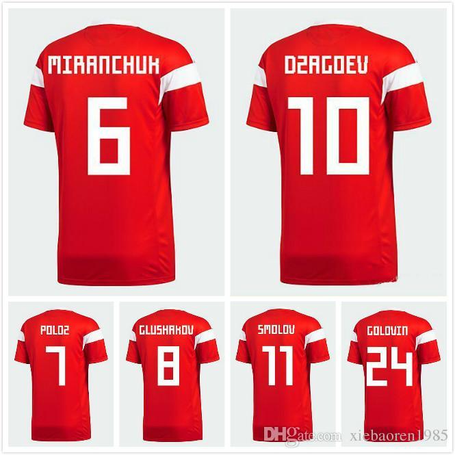 f9bd07588 2018 World Cup Russia Home Soccer Jerseys DZAGOEV Kokorin Dzyuba Smolov  Football Jersey 2019 Top Quality Russian Soccer Shirts Kit UK 2019 From ...