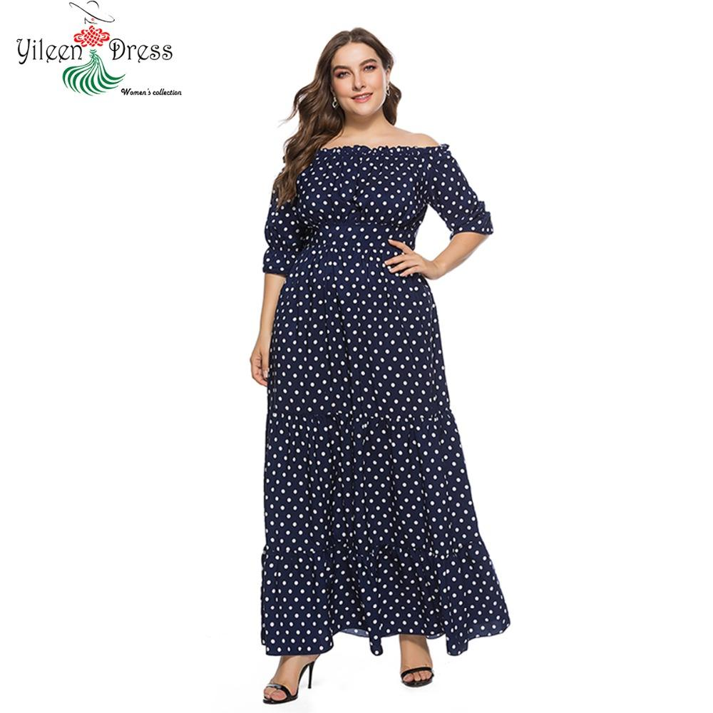 f688e0f6b9c Yileen Plus Size Elegant Women Dresses Polka Dot Slash Neck Ruffle Dress  Summer Off Shoulder Vintage Vestidos Beach Maxi Clothes Dresses Uk Women  Dresses ...