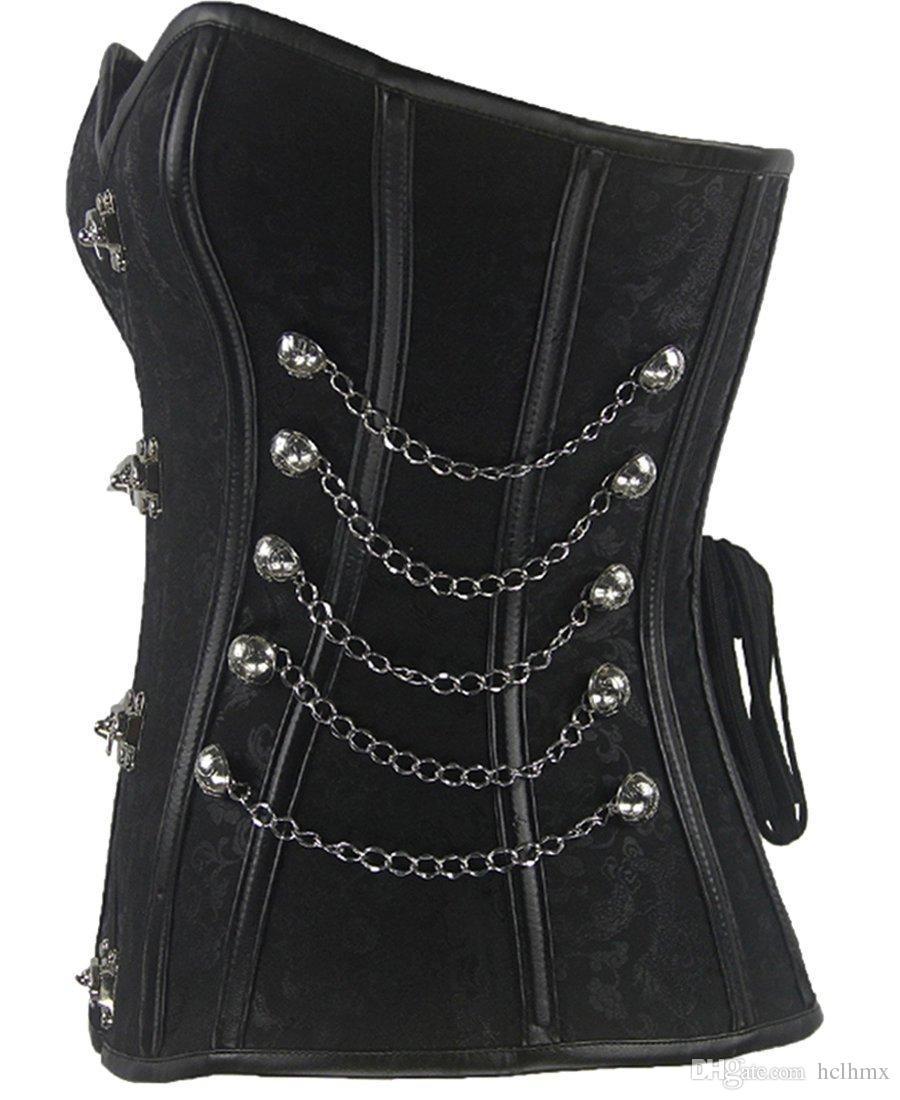 Hot style steel boned court retro metal chain binding rope power waist corset sexy underwear sex Bodysuit Women