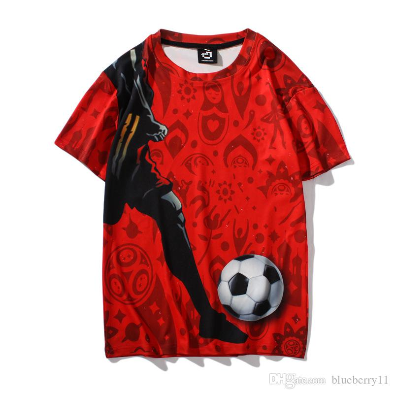 12f74f75df2 2018 RUSSIA World Cup 3D Printed Soccer T Shirts Short Sleeve Casual Men T  Shirts Tees Plus Size M 2XL Weird T Shirts T Shirt Shop Online From  Blueberry11, ...