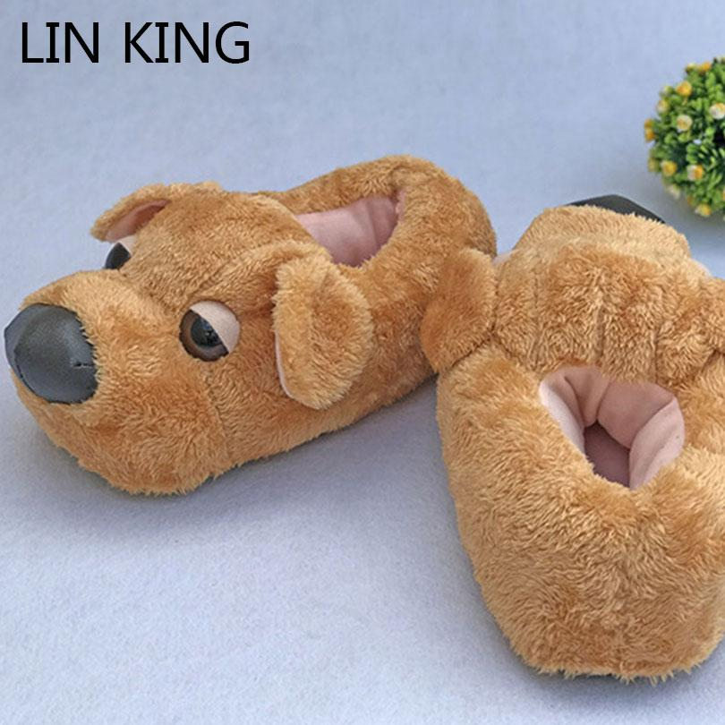 LIN KING Cute Cartton Dog Unisex Winter Indoor Slippers Cotton Shoes Women  Men Slip On Lazy Home Shoes Lovers Couple Floor Combat Boots Moccasins From  Drdre ... b9123b398
