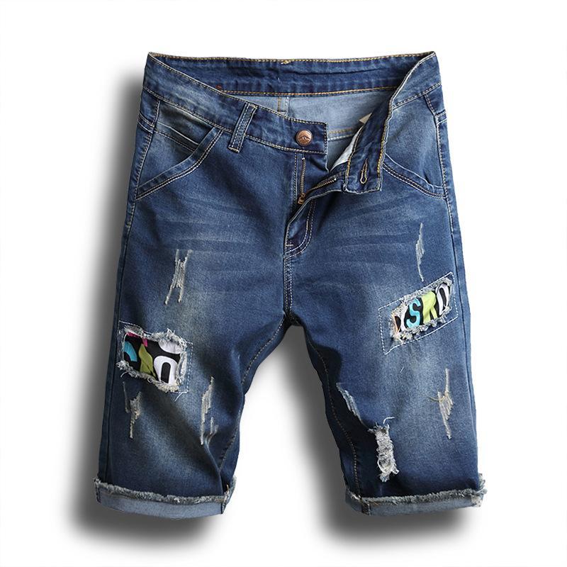 4805330cb8cf7b Acquista Mens Jean Shorts Fashion Cut Out Shorts Casual Hollow Out Jeans  Strappati Denim Strappato Pantaloni Corti Slim Fit Mens Estivi A $35.18 Dal  ...