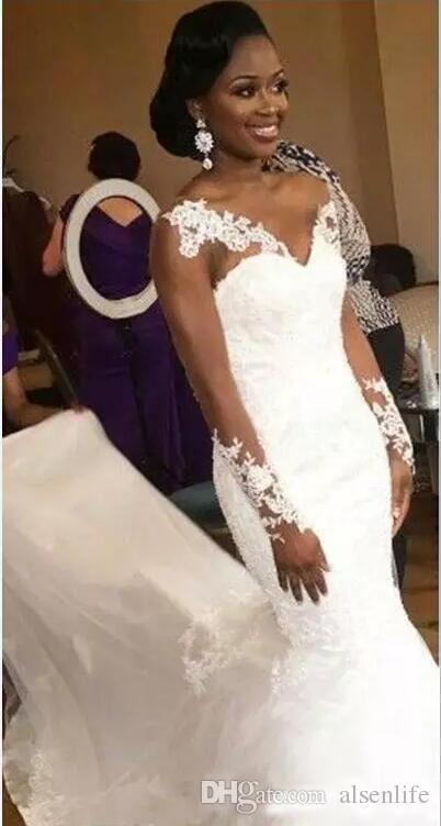 Африканская Русалка свадебные платья милая Sheer декольте кружева аппликации с длинными рукавами свадебные платья пизда поезд дешевые свадебное платье пляжная одежда